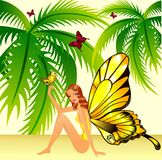 The beautiful girl. With wings of the butterfly in tropics Royalty Free Illustration