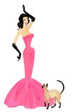 The beautiful girl. In a pink dress with a cat Vector Illustration