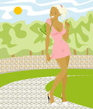 Beautiful girl. Smiling girl in pink dress in the park Stock Illustration
