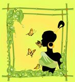 The beautiful girl. In a framework from a bamboo Royalty Free Illustration