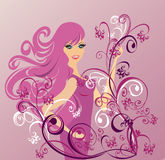 Beautiful girl on an abstract background. Vector  Royalty Free Stock Photos