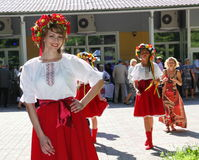 Beautiful girl actress animator in the national Ukrainian costume Royalty Free Stock Photography