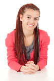 Beautiful girl with african plaits. Portrait of beautiful girl with african plaits, white background Stock Image