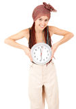 Beautiful girl with african plaits and big clock Royalty Free Stock Photo