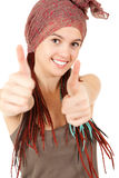 Beautiful girl with african plaits and thumbs up Stock Images