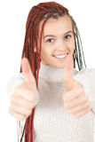 Beautiful girl with african plaits and thumbs up Stock Photography