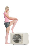 Beautiful girl with the air conditioner. Stock Images