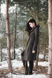 Beautiful girl alone in winter forest Stock Photos