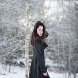 Beautiful girl alone in winter forest Stock Photography