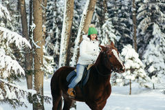 Beautiful Girl And Horse In Winter