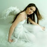 Beautiful girl of -Angel. With wings Royalty Free Stock Photo