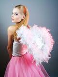 Beautiful girl of angel with big wings. Beautiful pretty girl of angel with big wings Stock Photo