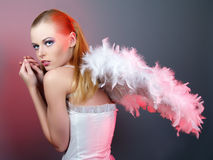 Beautiful girl of angel with big wings Stock Photo