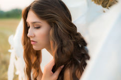 Beautiful girl with angel wings Stock Photo