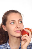 Beautiful girl with an apple Royalty Free Stock Image