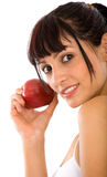 Beautiful girl with an apple Stock Photos