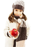 Beautiful girl with apple. Winter style. Royalty Free Stock Images