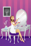 Beautiful girl applying makeup. A vector illustration of a beautiful girl applying makeup in her room vector illustration