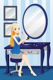 Beautiful girl applying makeup. A vector illustration of a beautiful girl applying makeup in her room royalty free illustration