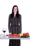 Beautiful Girl with an Apron in the Ktichen Stock Photos