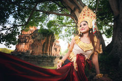 Beautiful Girl in Apsara. At castle public  Thailand Royalty Free Stock Photo