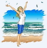 Beautiful girl with arms outstretched on a tropica. Vector illustration of Beautiful girl with arms outstretched on a tropical beach Royalty Free Stock Photos