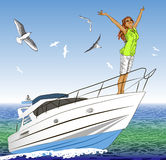 Beautiful girl with arms outstretched on yacht dec Stock Photography