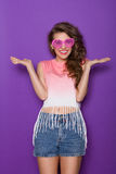 Beautiful girl with arms outstretched Stock Images