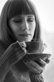 Beautiful Girl with Aromatic Coffee. Black and  White Image Stock Photos