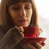 Beautiful Girl with Aromatic Coffee Stock Photo