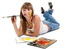 Beautiful girl artist. Stock Images