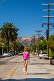 Beautiful Girl At The Hollywood District Near The Hollywood Sign Royalty Free Stock Images