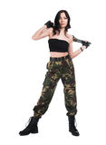 The beautiful girl with a  automatic rifle. The beautiful girl with a rifle on a white background Stock Photos