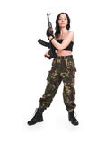 The beautiful girl with a  automatic rifle. The beautiful girl with a rifle on a white background Stock Photo
