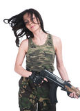 The beautiful girl with a  automatic rifle. The beautiful girl with a rifle on a white background Royalty Free Stock Images