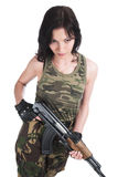 The beautiful girl with a  automatic rifle. The beautiful girl with a rifle on a white background Royalty Free Stock Photos