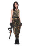 The beautiful girl with a  automatic rifle. The beautiful girl with a rifle on a white background Royalty Free Stock Photo