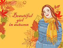 Beautiful girl in autumn. Vector background Royalty Free Stock Image
