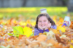 Beautiful girl at autumn Royalty Free Stock Images