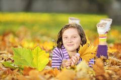 Beautiful girl at autumn Stock Photos