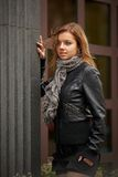 Beautiful girl in autumn coat Stock Image
