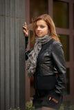 Beautiful girl in autumn coat Stock Image