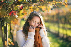 Beautiful girl in autumn colors grapevine Stock Photos