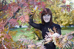 Beautiful girl in autumn. Cute girl having fun in the autumn garden rowan Stock Photography