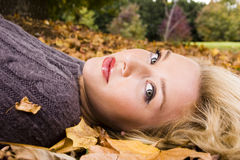 Beautiful girl in the Autumn fall Stock Photos