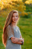 Beautiful girl in the Autumn fall Royalty Free Stock Image