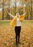 Beautiful girl in autumn fall park.  Stock Images