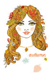 Beautiful girl with autumn leaves.Color portrait. Beautiful autumn girl with long blond hair and leaves decoration.Abstract fashion composition.European female stock illustration