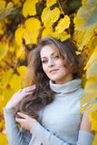 Beautiful girl in autumn park Stock Photo