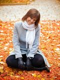 A beautiful girl on the autumn park Stock Image
